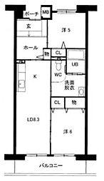 福岡県福岡市東区千早2丁目の賃貸マンションの間取り