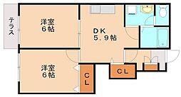 ドルチェサトウA[1階]の間取り