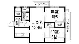 兵庫県西宮市中屋町の賃貸マンションの間取り