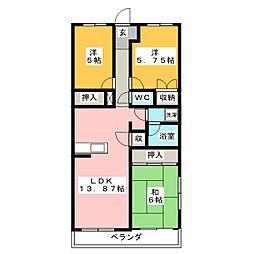 コーポ青木[3階]の間取り
