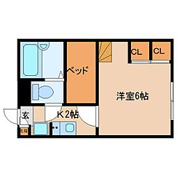 近鉄奈良線 菖蒲池駅 徒歩11分の賃貸マンション 1階1Kの間取り