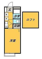 小田急小田原線 鶴川駅 徒歩13分の賃貸アパート 2階1Kの間取り