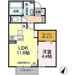 JR中央本線 甲府駅 4.3kmの賃貸アパート 1階1LDKの間取り