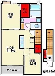 クレメントⅡ[2階]の間取り