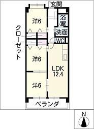 サンクレージュ[4階]の間取り