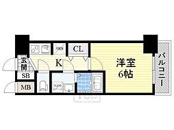 クレアート北大阪レヴァンテ 2階1Kの間取り