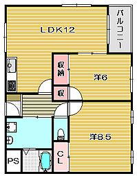 大阪府茨木市主原町の賃貸マンションの間取り