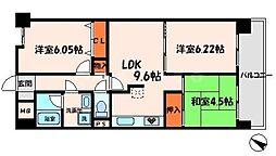 パークサイド守口 3階3LDKの間取り
