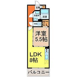 愛知県名古屋市中村区畑江通9丁目の賃貸マンションの間取り