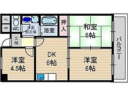 リバーサイド上野[4階]の間取り