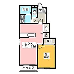 アザレア・HORIKAWA[1階]の間取り