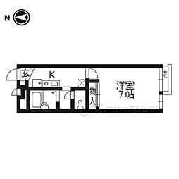 JR東海道・山陽本線 山科駅 徒歩4分の賃貸アパート 2階1Kの間取り