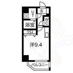 レジデンシア泉2 3階ワンルームの間取り