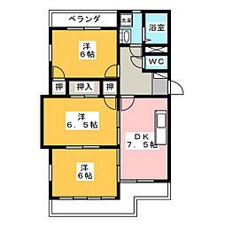 サンライトカネ井[3階]の間取り