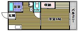 大阪府大阪狭山市池尻中1丁目の賃貸アパートの間取り