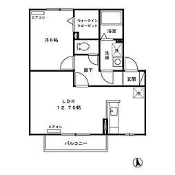 東京都調布市深大寺南町3丁目の賃貸アパートの間取り