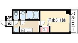 プレサンス THE MOTOYAMA 8階1Kの間取り