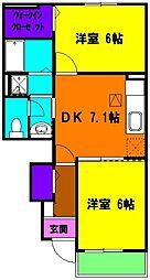 静岡県磐田市匂坂中の賃貸アパートの間取り