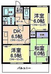東京都昭島市中神町1丁目の賃貸マンションの間取り