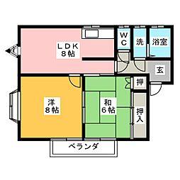 コーポヤナダ[1階]の間取り