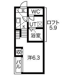 ハーモニーテラス駈上[2階]の間取り