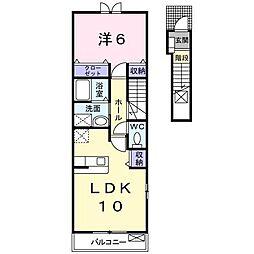 カーサ・イルソーレ[2階]の間取り