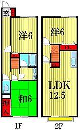 [テラスハウス] 埼玉県越谷市東大沢2丁目 の賃貸【/】の間取り