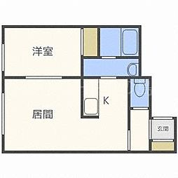 北海道札幌市豊平区中の島一条4丁目の賃貸アパートの間取り