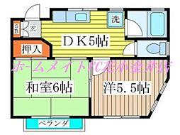 コーポ川村[2階]の間取り