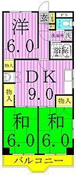 ファインクロス弐番館[1階]の間取り