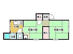 兵庫県神戸市垂水区上高丸3丁目の賃貸アパートの間取り