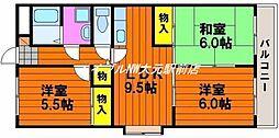 岡山県岡山市南区福田丁目なしの賃貸マンションの間取り
