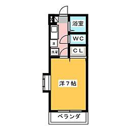 シャトー天神弐番館 1階1Kの間取り