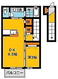 ヴィクトワール2B[2階]の間取り