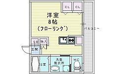Osaka Metro御堂筋線 中津駅 徒歩12分の賃貸マンション 3階ワンルームの間取り