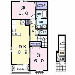 徳島県板野郡藍住町勝瑞字成長の賃貸アパートの間取り