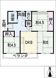 上の山団地5号棟103号室[1階]の間取り