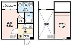 pavillon honn&234;te biwajima[2階]の間取り