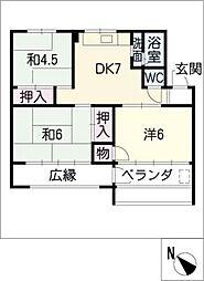 植田山住宅 305号室[3階]の間取り