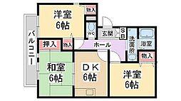 兵庫県伊丹市御願塚4丁目の賃貸アパートの間取り
