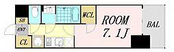 エスプレイス大阪ガルフレジデンス 13階1Kの間取り