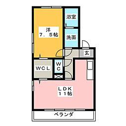 アリエルII B棟[1階]の間取り