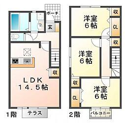 兵庫県神戸市須磨区多井畑字東所の賃貸アパートの間取り