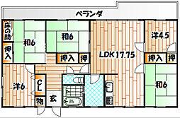 福岡県北九州市八幡東区大蔵3丁目の賃貸マンションの間取り