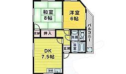 淡路マンション 2階2DKの間取り