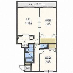 北海道札幌市東区東苗穂三条1丁目の賃貸マンションの間取り