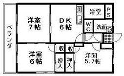 愛媛県松山市南久米町の賃貸マンションの間取り