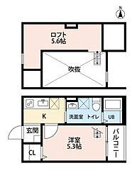 愛知県名古屋市中村区中村町9丁目の賃貸アパートの間取り