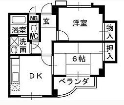 兵庫県西宮市神原の賃貸マンションの間取り