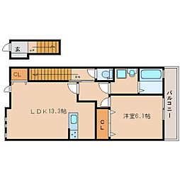 奈良県大和高田市西三倉堂の賃貸アパートの間取り